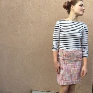 Pastel Tweed Pencil Skirt
